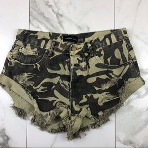 Mustard Seed• Distressed Camo Shorts